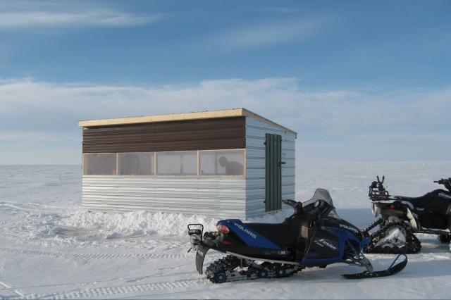 10' x 16' Heated Ice Hut: Ice Fishing on Lake of the Woods is a popular sport especially teamed with snowmobiling and a warm cabin to return to