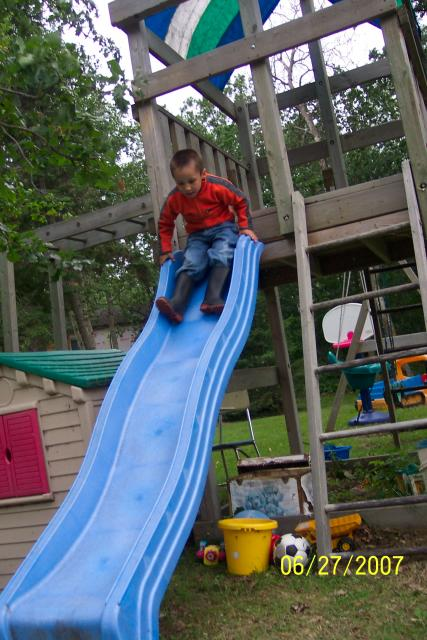Sliding on the Slides attached to the fort in the playground is always a fun things for kids to do: Having different fun activities will keep the children happy and entertained while on their fishing vacation or family holiday in Northwestern Ontario Canada.