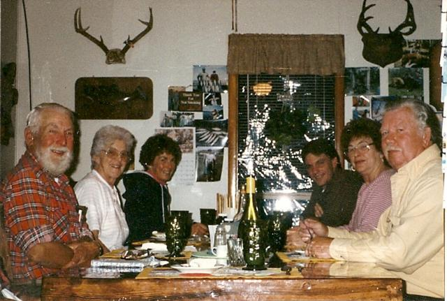 Ed & Marge Richard, Gail Wood, Jim K, Carol Ann & Joe Mott in the Lodge 1996